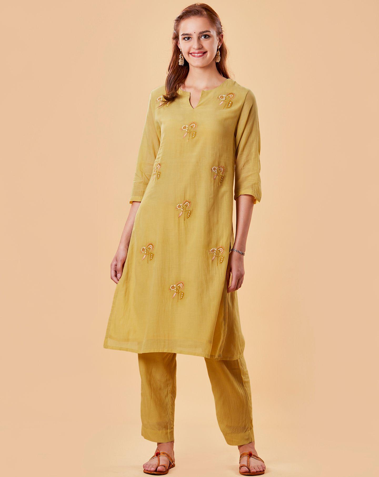 Mustard Embroidered Cotton Silk Kurta with straight Pants- Set of 2