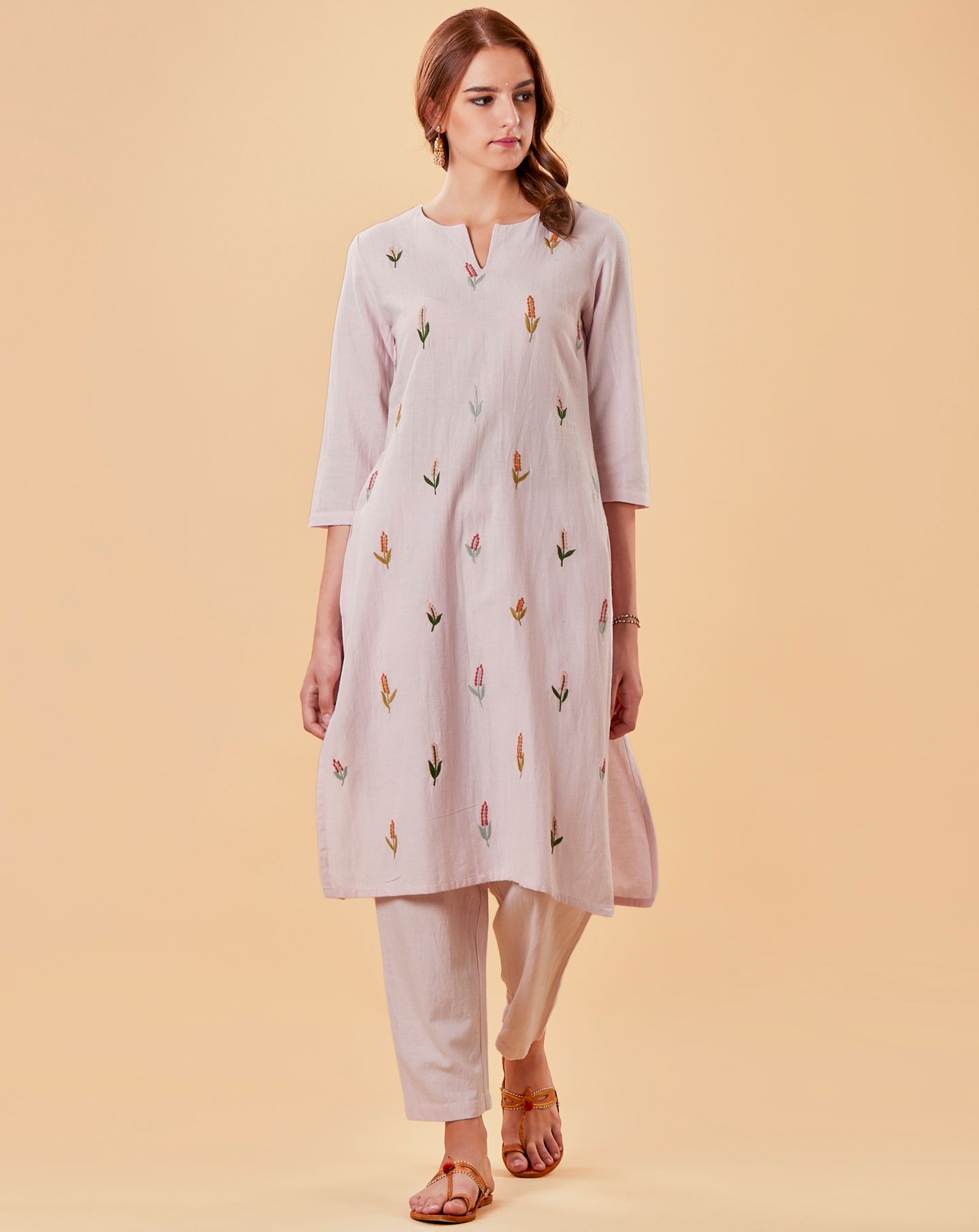 Light Pink Embroidered Cotton Linen Kurta with Pants - Set of 2