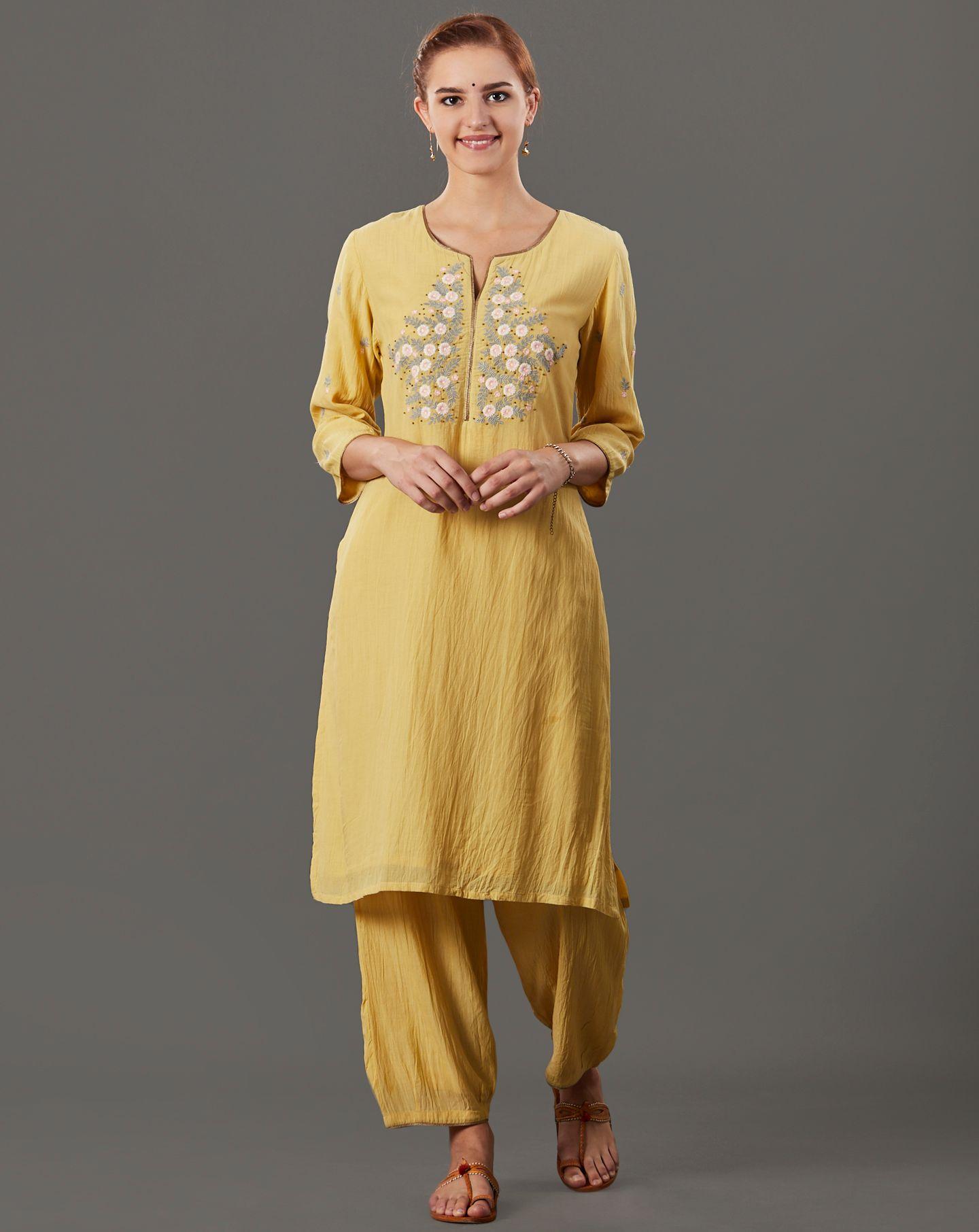 Yellow Embroidered Cotton Silk Kurta with Pants - Set of 2