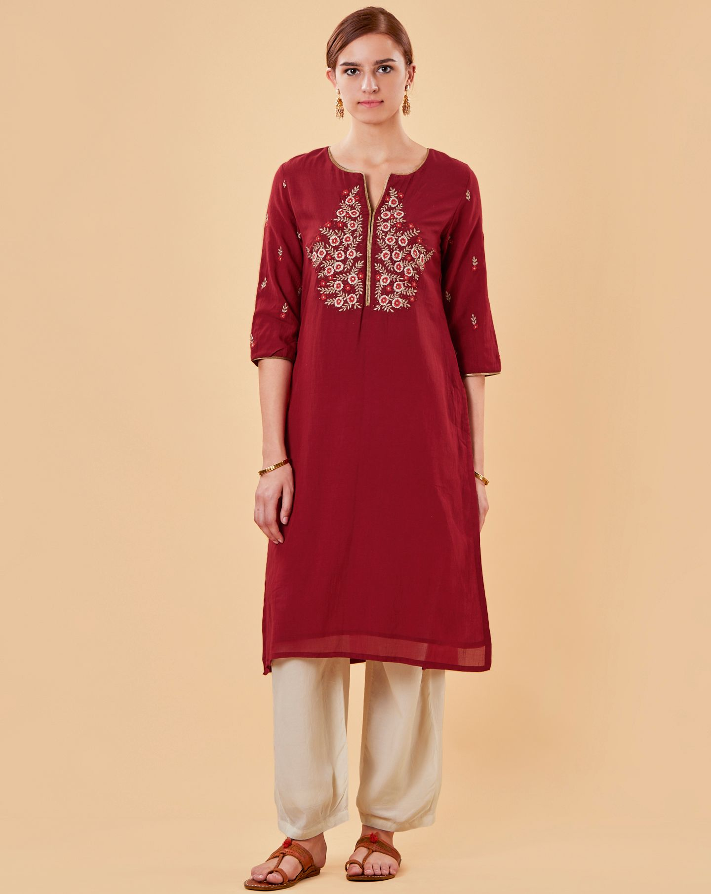 Red Embroidered Cotton Silk Kurta with Ivory Pants - Set of 2