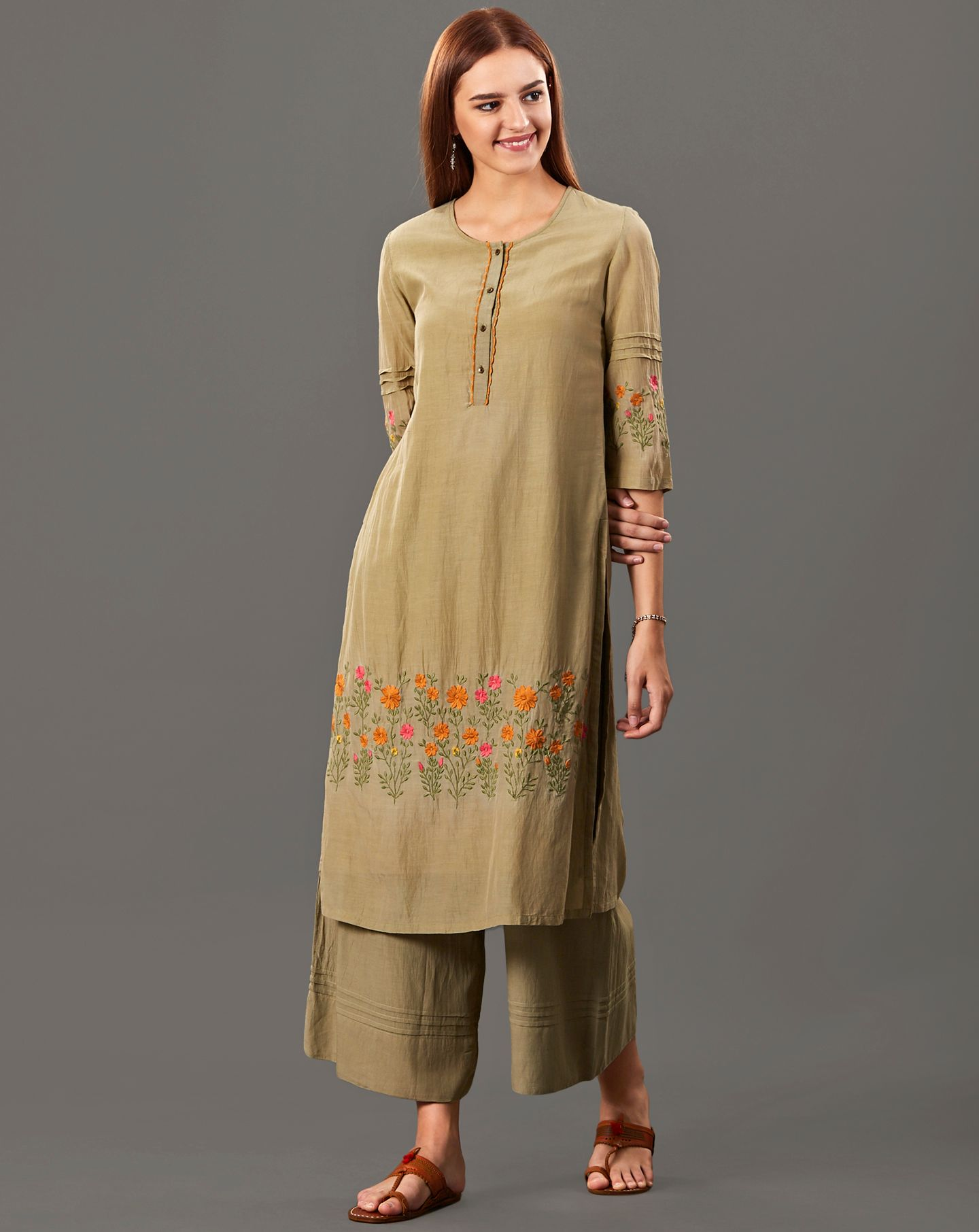 Olive Green Embroidered Cotton Silk Kurta with Flared Palazzo - Set of 2