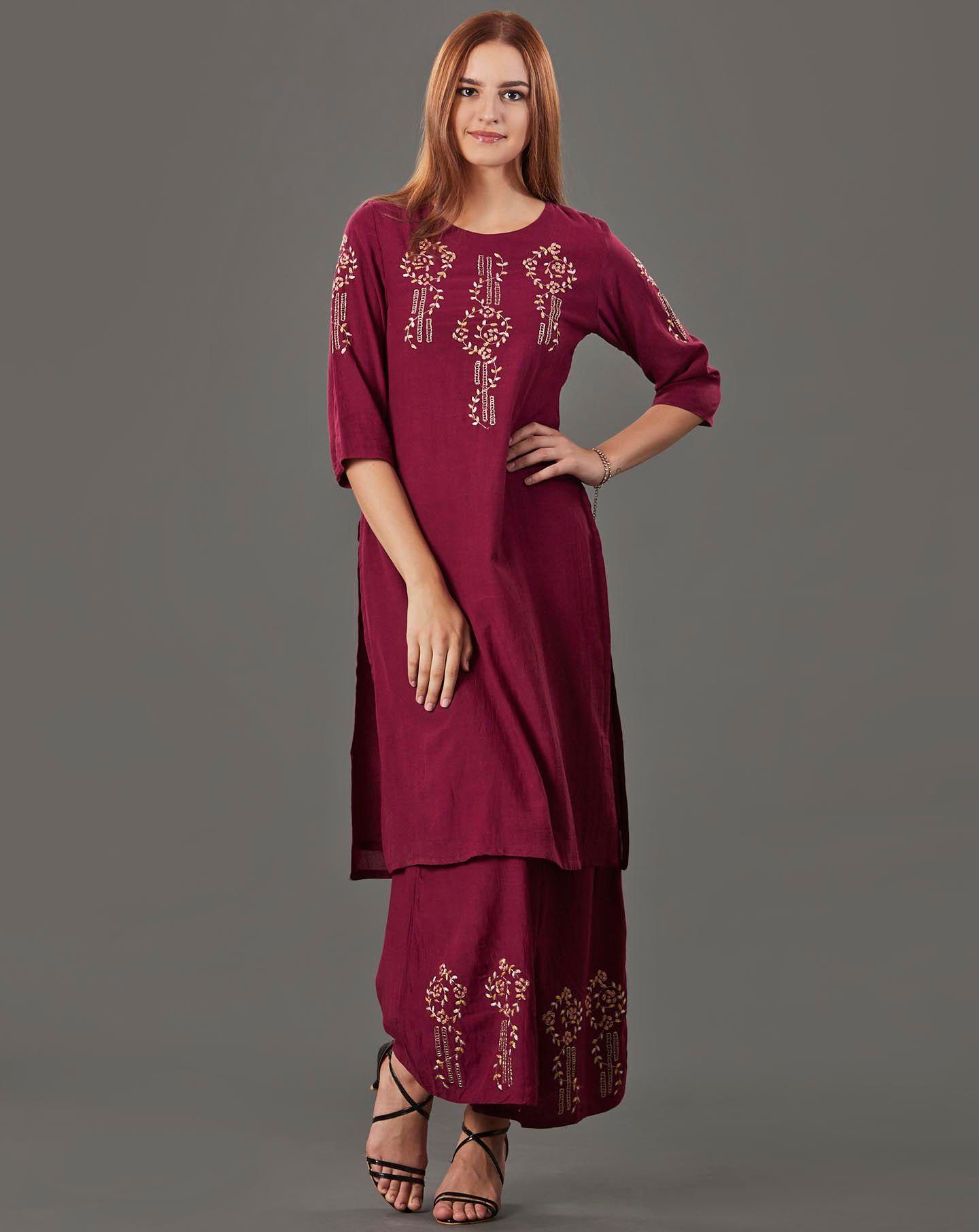Maroon Embroidered Cotton Silk Kurta with Flared Palazzo - Set of 2