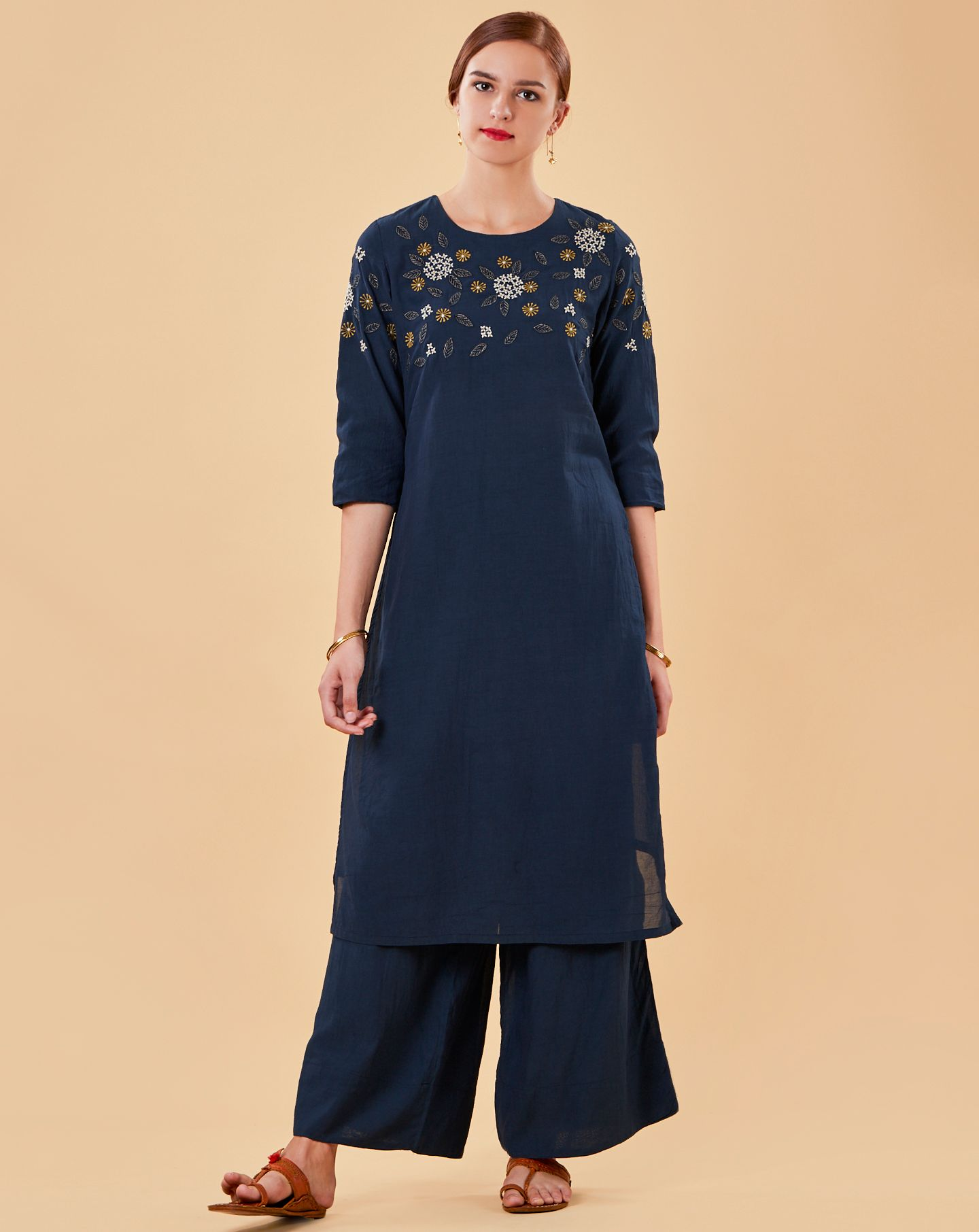 Blue Embroidered Cotton Silk Kurta with Flared Palazzo - Set of 2