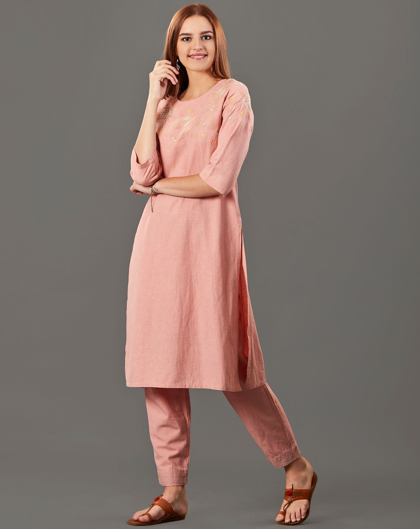 Peach Embroidered Cotton Linen Kurta with Pants - Set of 2