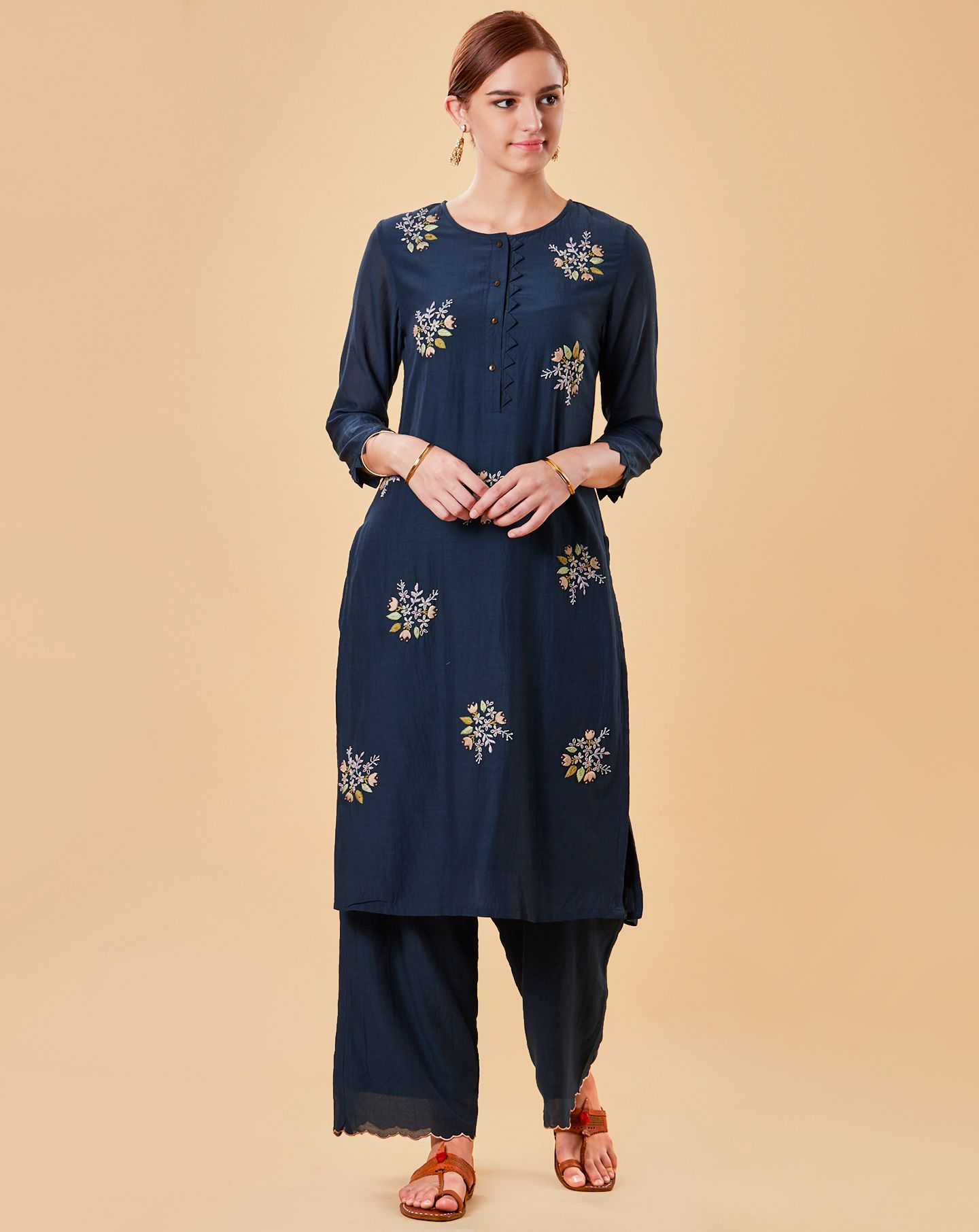 Navy Blue Embroidered Cotton Silk Kurta with Pants- Set of 2