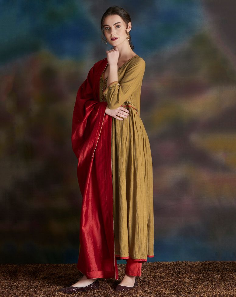 Mustard Yellow Embellished Cotton Silk Anarkali Kurta with Cambric Cotton Pants - Set of 2