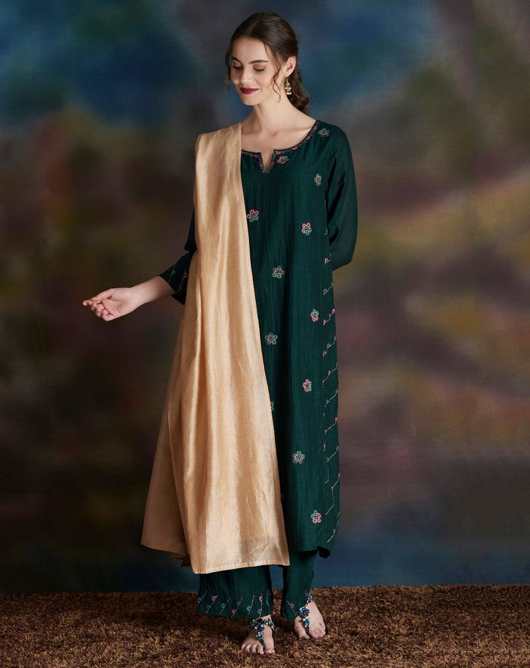 Green Thread Embroidered Cotton Silk Kurta with Pants- Set of 2