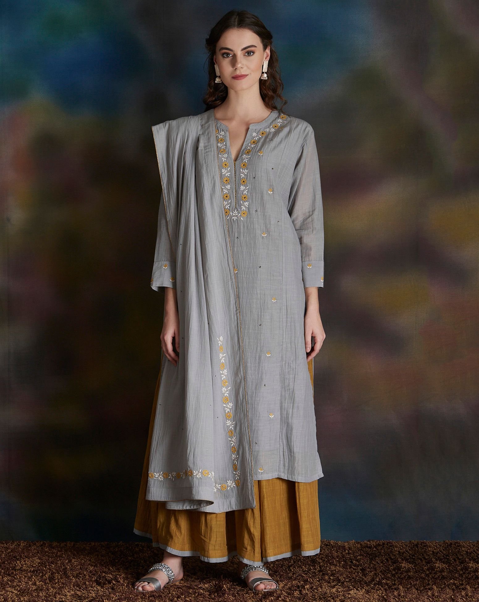 Grey Embroidered Cotton Silk Kurta with Olive Green Gathered Skirt - Set of 2