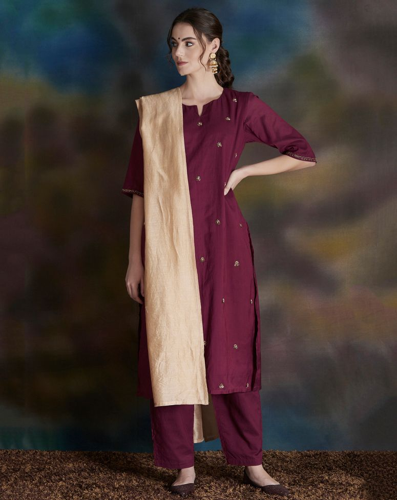 Burgundy Embellished Cotton Silk Kurta with Pants - Set of 2