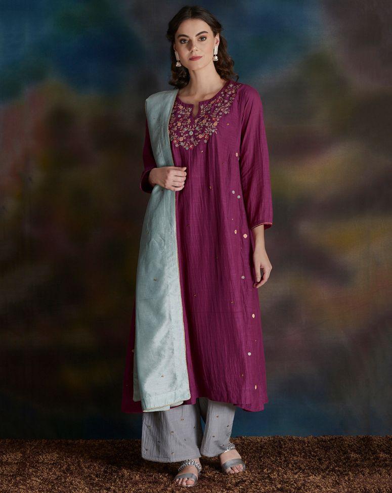 Magenta Embroidered Cotton Silk Kurta with Grey Palazzo - Set of 2