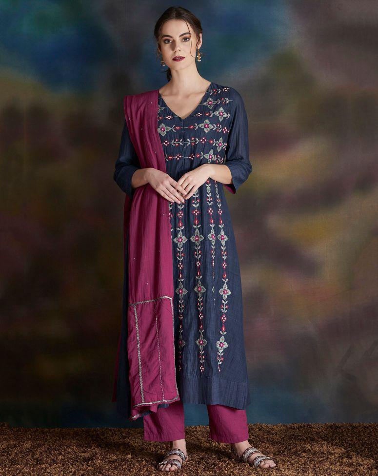 Navy Blue Embroidered Cotton Silk Kurta with Magenta Pants- Set of 2