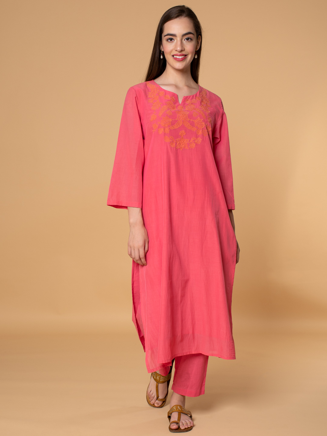 Pink Applique Embroidered Cotton Silk Kurta with Pants - Set of 2