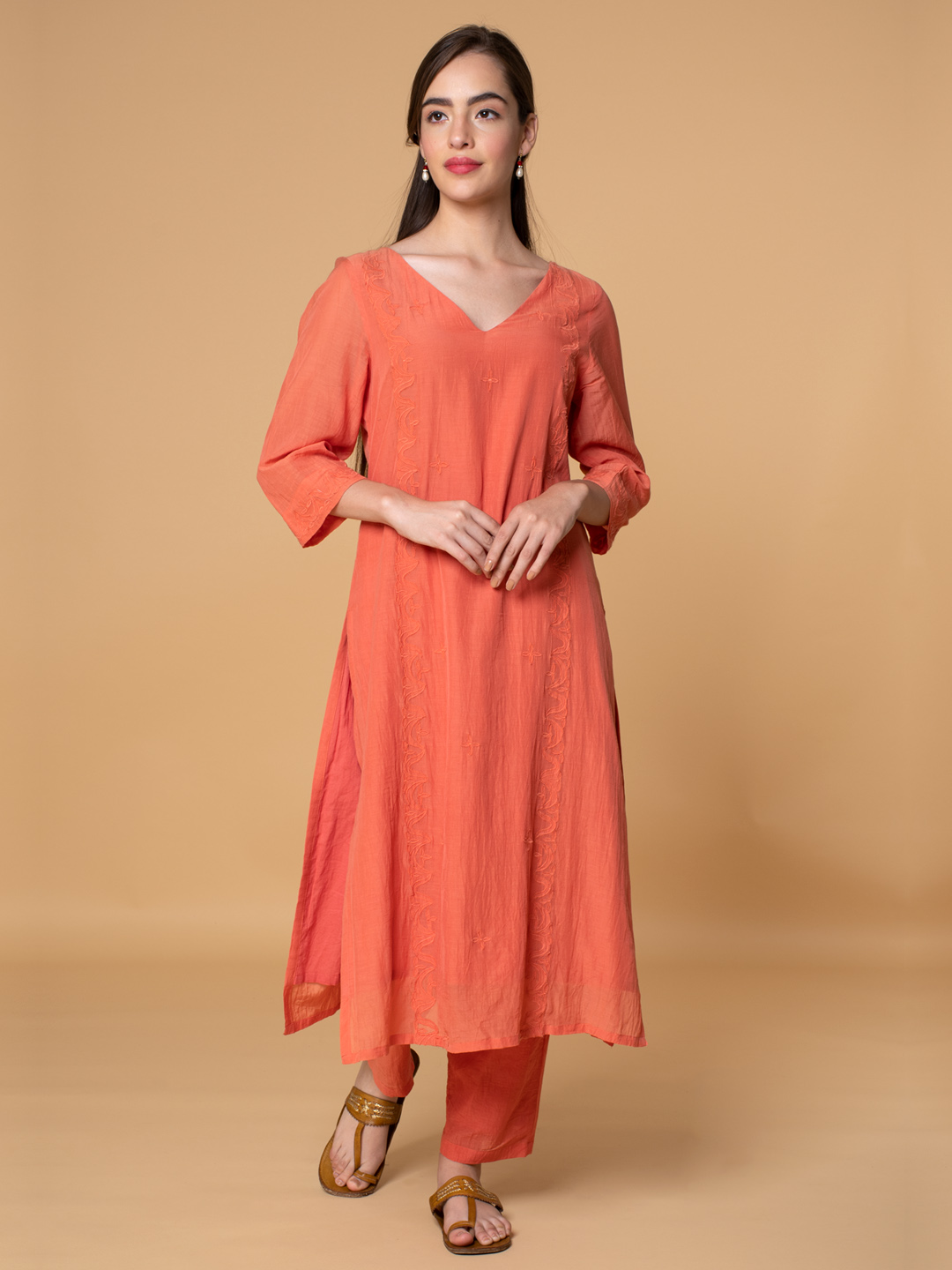 Coral Front Applique Embroidered Cotton Silk Kurta with Pants - Set of 2
