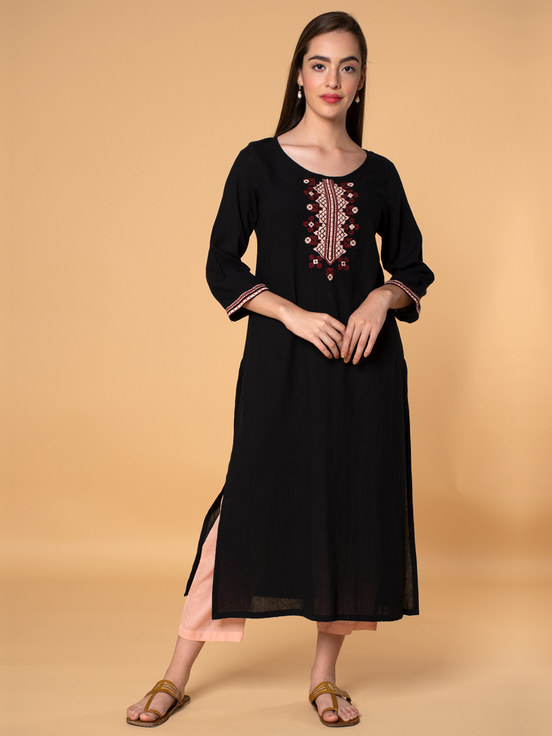 Black Embroidered Cotton Kurta with Peach Pants - Set of 2