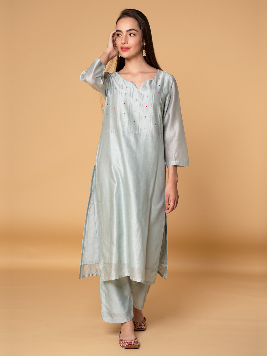 Pastel Green Embroidered Chanderi Kurta with Pants