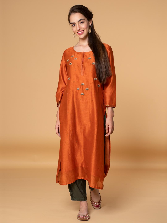 Orange Sequin Embroidered Chanderi Kurta with Olive Green Pants