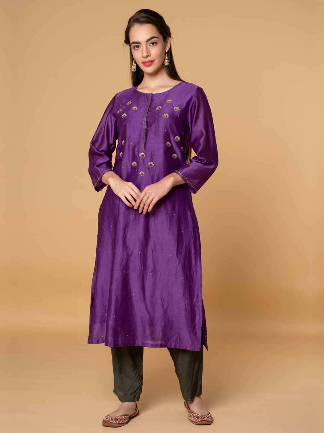 Purple Sequins Embroidered Chanderi Kurta with Olive Green Viscose Pants