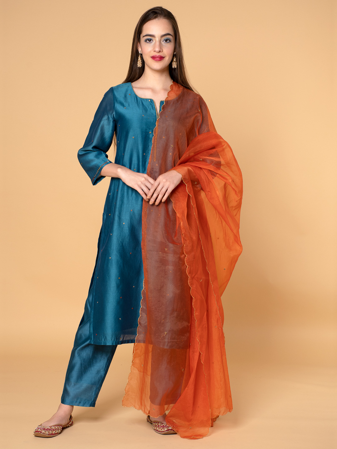 Teal Blue Sequins Embroidered Chanderi Kurta with Beige Viscose Pants