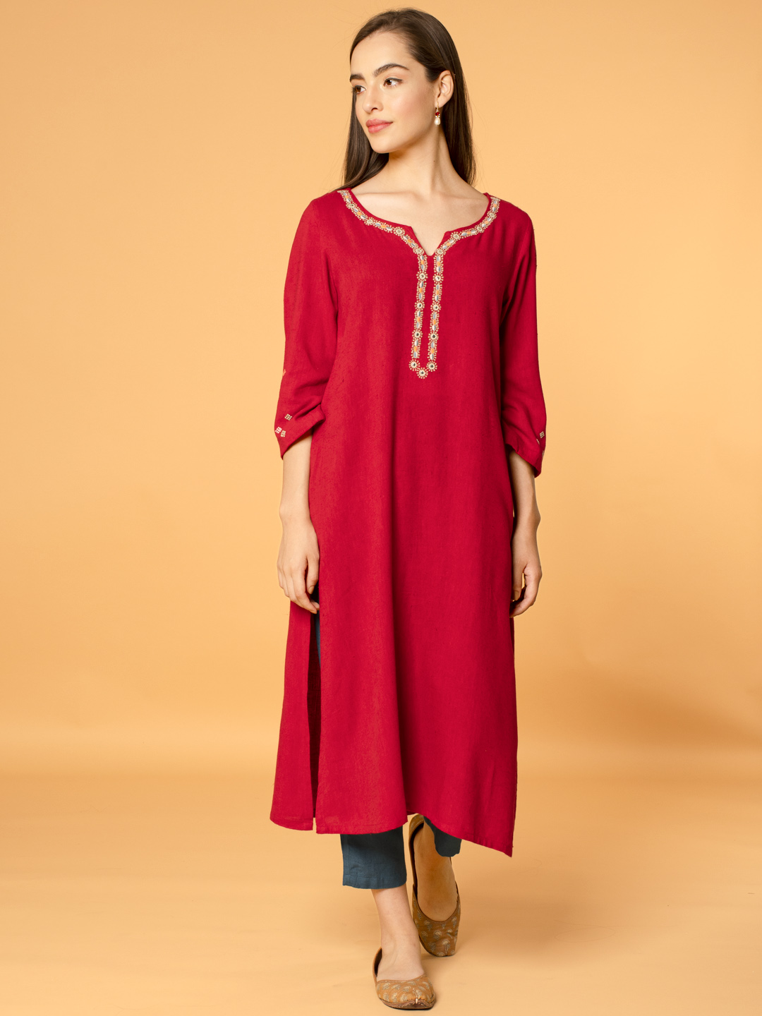 Red Mirror Embroidered Linen Viscose Kurta with Teal Blue Pants - Set of 2