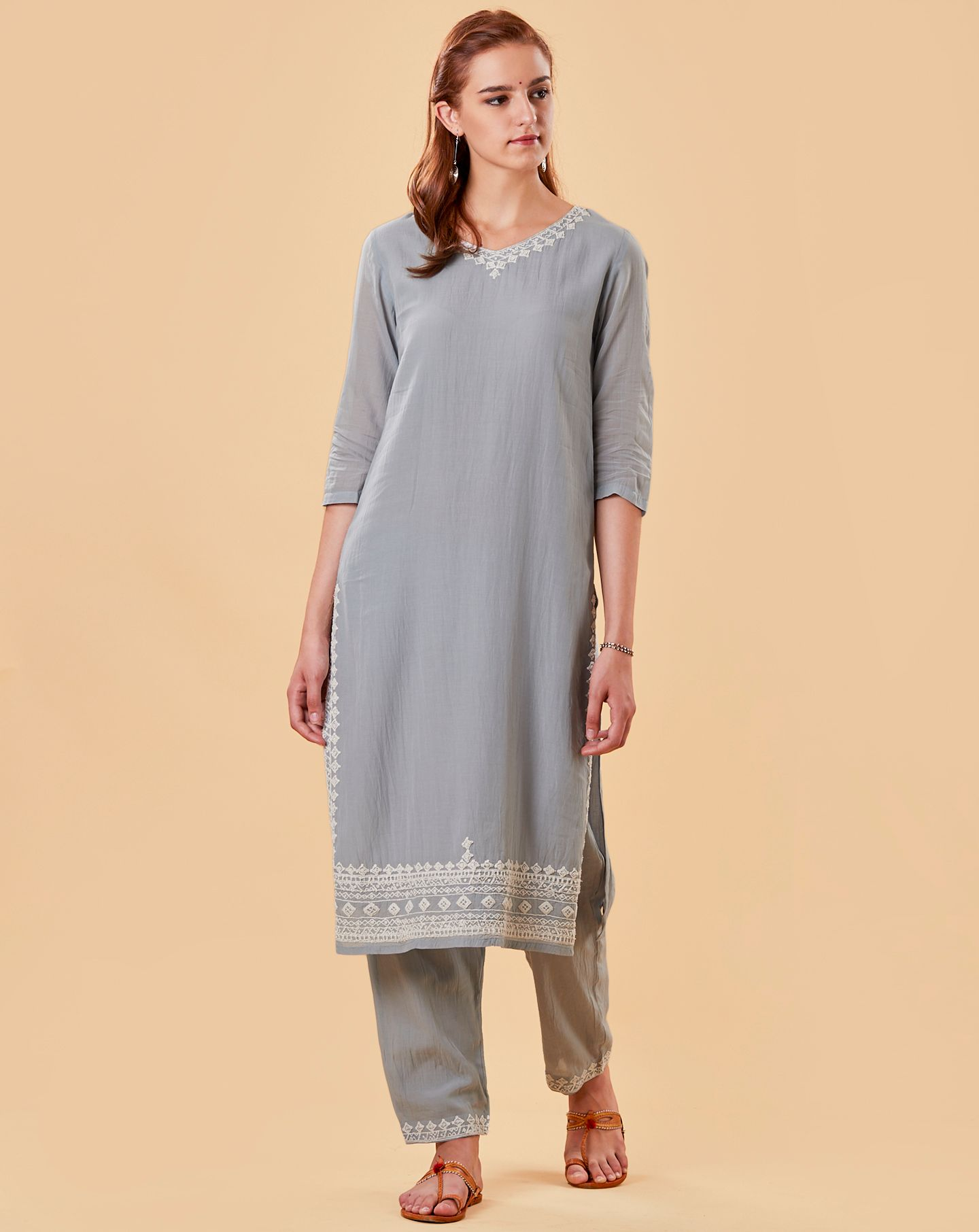Pastel Blue Embroidered Cotton Silk Kurta with Pants- Set of 2