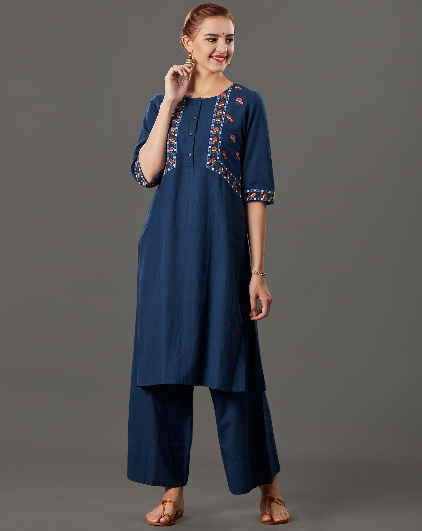 Navy Blue Embroidered Cotton Linen Kurta with Palazzo - Set of 2